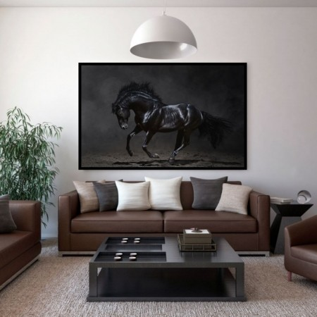 Quadro para Sala - Cavalo na Escuridão - 110x70cm