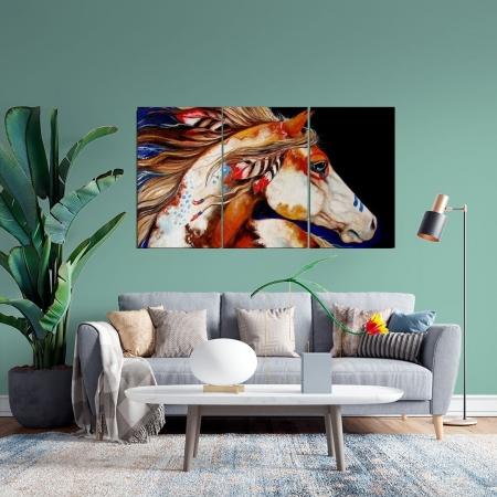 Quadro Decorativo - Cavalo Nativo - 3 Telas - 120x70cm