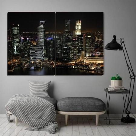 Quadro Decorativo - Cidade a Noite - 2 telas  - 120x80cm