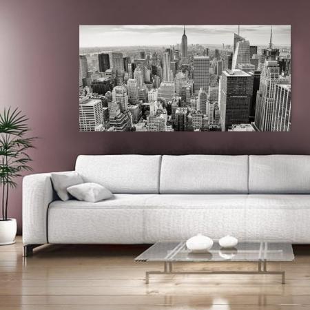 Quadro Decorativo - Cidade Preto e Branco - 110x50cm