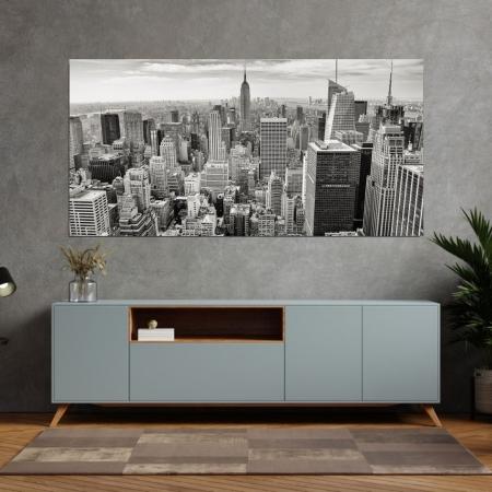 Quadro Decorativo - Cidade Preto e Branco - 120x60cm.