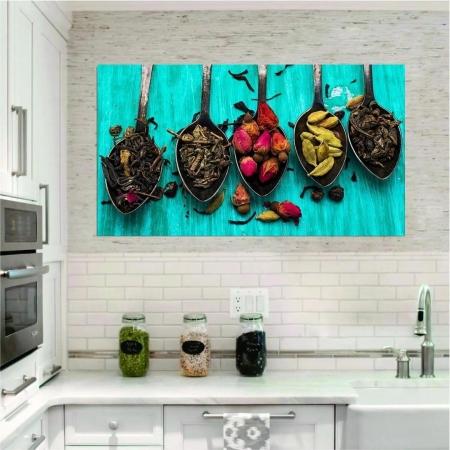Quadro Decorativo - Cozinha - Condimentos Fundo Azul - 110x60cm