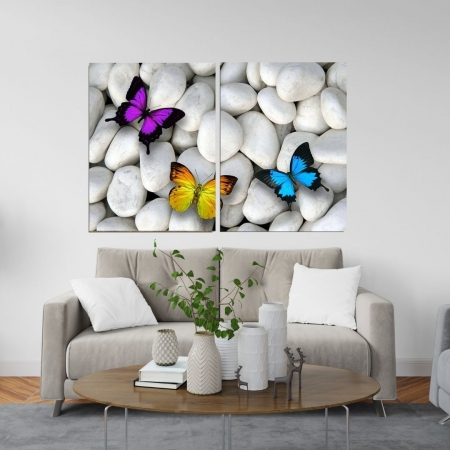Quadro Decorativo  - Duas Telas - Borboletas Coloridas - 120x80cm