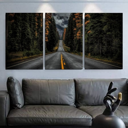 Quadro Decorativo - Estrada - 3 Telas 120x60cm