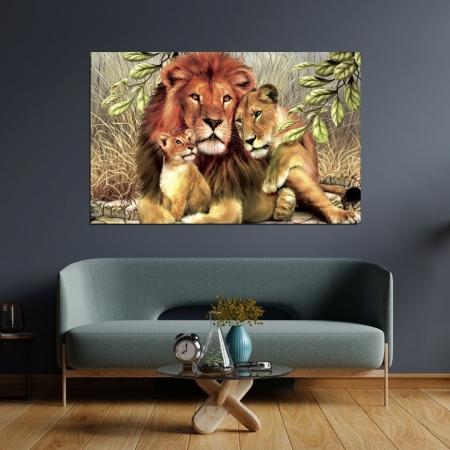 Quadro Decorativo - Familia de Leões - 110x70cm