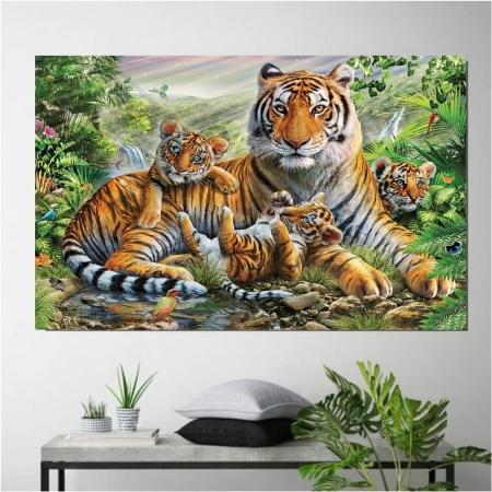Quadro Decorativo - Familia de Tigres -110x70cm