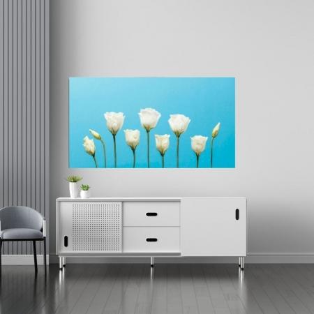 Quadro Decorativo - Flores Brancas com Fundo Azul - 110x60cm