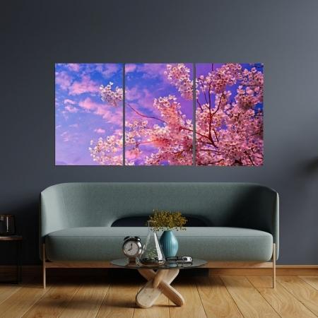 Quadro Decorativo - Flores de Cerejeira - 3 Telas - 120x60cm