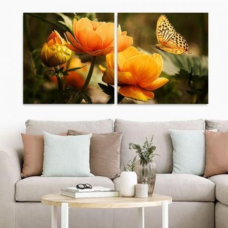 Quadro Decorativo - Flores e Borboleta -  2 Telas - 140x70cm