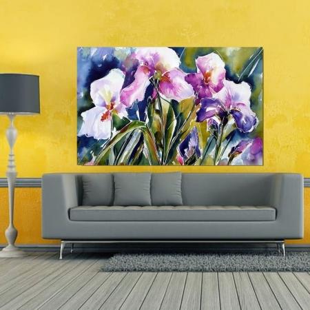 Quadro Decorativo - Flores Estilo Pintura -110x70cm