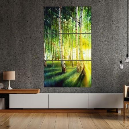 Quadro Decorativo - Floresta com Reflexo - 3 Telas - 150x90cm.