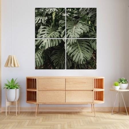 Quadro Decorativo - Folhagem Tropical - Quatro Telas - 120x120.