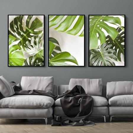Quadro Decorativo Folhas Tropicais 3 Peças 40x60