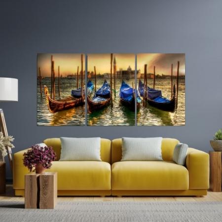 Quadro Decorativo - Gondolas Atracadas no Canal de Veneza - 120x60cm