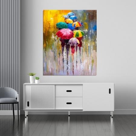 Quadro Decorativo -  Guarda Chuvas Coloridos Estilo Pintura- 110x90cm