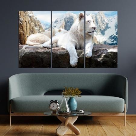 Quadro Decorativo - Leão Branco na Montanha - 3 Telas - 120x70cm