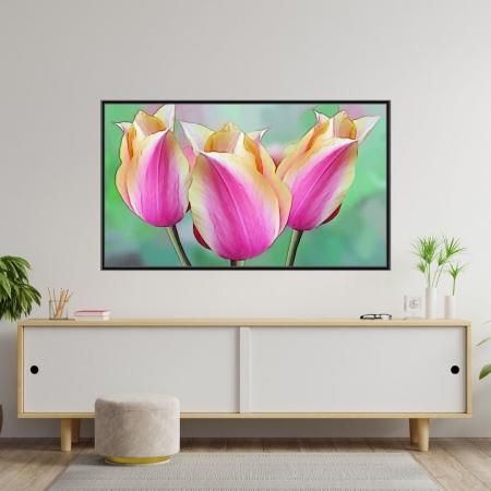 Quadro Decorativo Tulipas Rosas com Moldura 110x70cm
