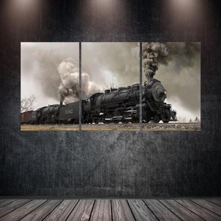 Quadro Decorativo - Locomotiva - 3 telas - 120x60cm