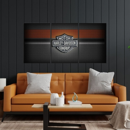 Quadro Decorativo - Logo - Harley Davidson - 3 Telas - 120x60cm