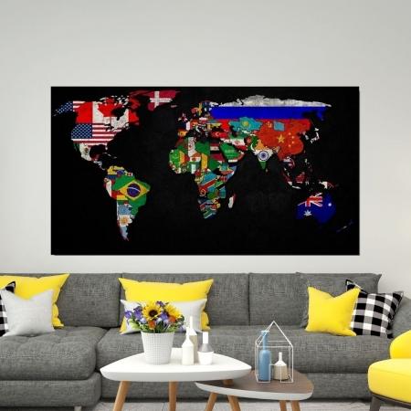 Quadro Decorativo - Mapa Mundi e Moedas Nacionais - 110x60cm