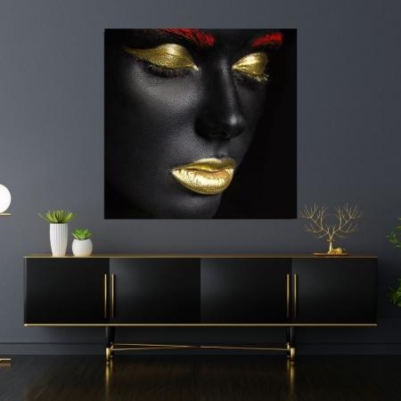 Quadro Decorativo - Maquiagem Dourada - 70x70cm