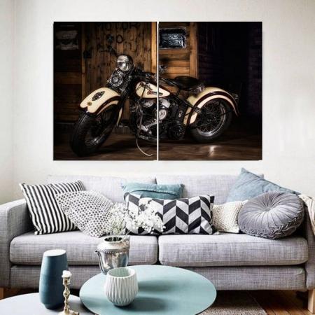 Quadro Decorativo Moto Chopper 2 Telas 100x70cm