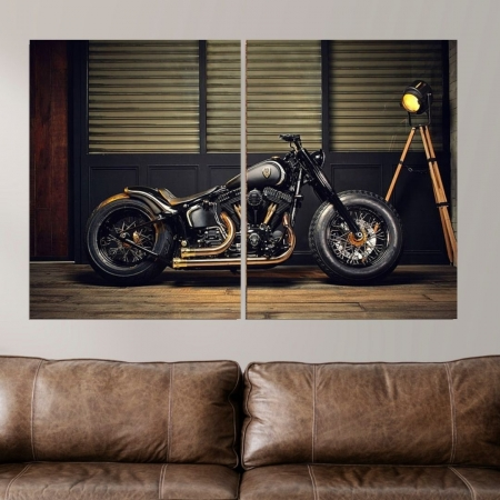 Quadro Decorativo - Moto Custom - 2 Telas - 100x65cm
