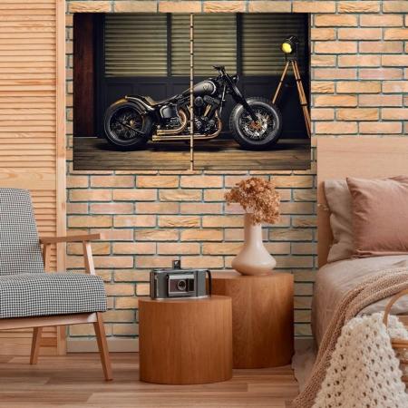 Quadro Decorativo Moto Custom 2 Telas 100x70cm