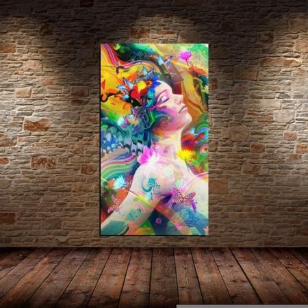 Quadro Decorativo - Mulher Abstrata Colorida - 120x50cm.