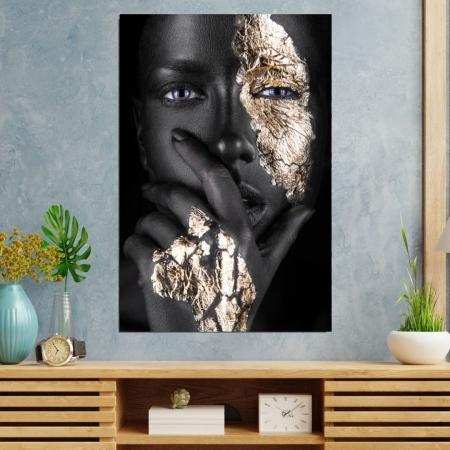Quadro Decorativo - Mulher Negra com Maquiagem Dourada - 90x60cm