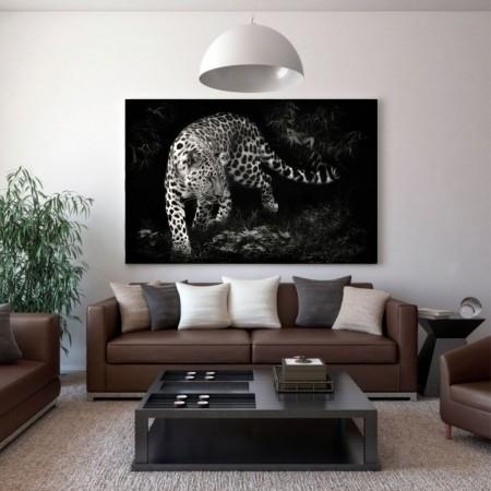 Quadro Decorativo Onça Preto e Branco 110x70cm
