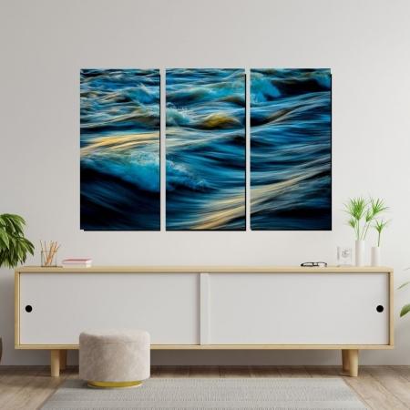 Quadro Decorativo - Mar Agitado - 3 Telas - 105x70cm
