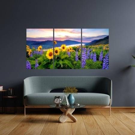 Quadro Decorativo - Paisagem com Girassóis e Lavanda - 120x60cm