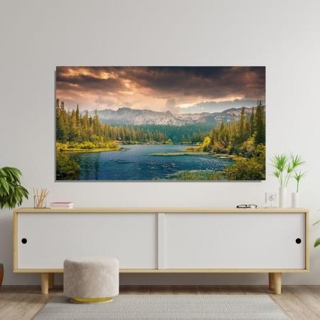 Quadro Decorativo Paisagem Lago e Montanhas 120x70cm