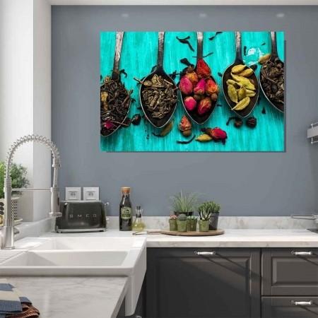 Quadro Decorativo para cozinha Condimentos Fundo Azul 120x60cm