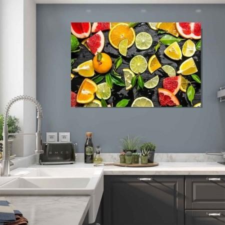 Quadro Decorativo para Cozinha Frutas Frescas 120x60cm