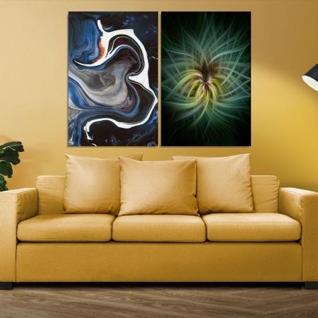 Quadro Decorativo Para Sala - Abstrato e Fractal - 80x50cm