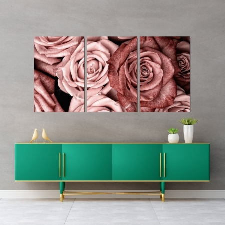 Quadro Decorativo Para Sala - Rosas - 3 telas - 120x60cm