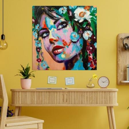 Quadro Decorativo -Rosto Feminino Floral - Estilo Pintura  - 80x80cm