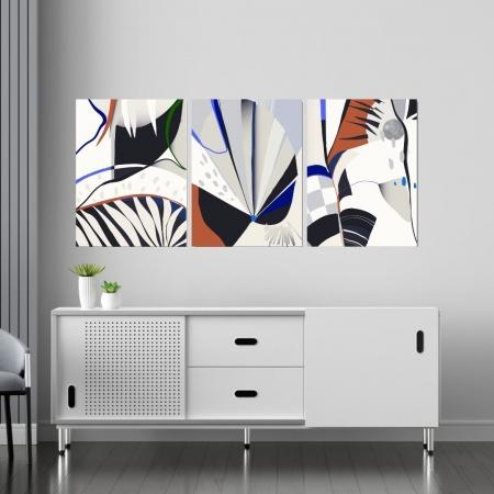Quadro Decorativo Para Sala - Três Telas - Abstrato Moderno - 60x45cm
