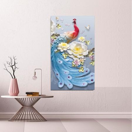 Quadro Decorativo Pavão Luxo, 3D, 110x65cm