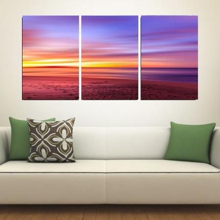 Quadro Decorativo Para Sala - Por do Sol a Beira Mar - 3 telas - 120x60cm