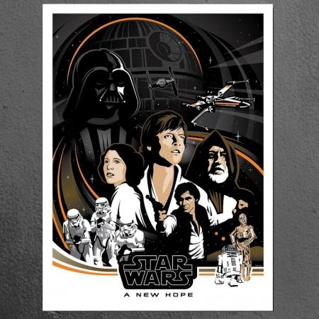 Quadro Decorativo- Poster Retrô - Star Wars - 80x60cm