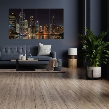 Quadro Decorativo Para Sala - 4 Telas - Cidade a Noite - 120x70cm