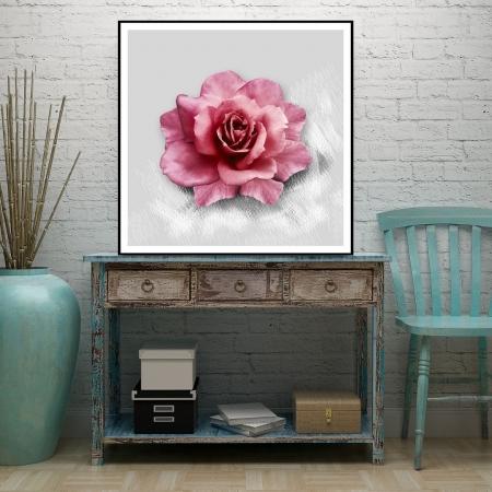 Quadro Decorativo Rosa 90x90 cm com Moldura