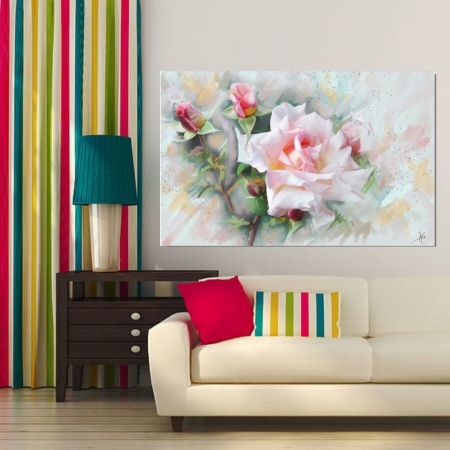 Quadro Decorativo Para Sala - Rosa Estilo Pintura - 110x70cm