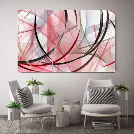 Quadro Decorativo Para Sala - Traços Vermelhos - 110x70cm