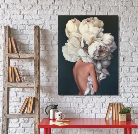 Quadro Mulher com Flor na Cabeça 60x80
