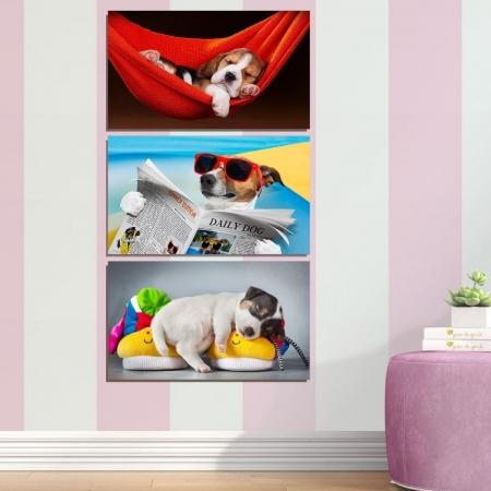 Quadro para Quarto Infantil - Pequenos Cachorros - 60x40cm