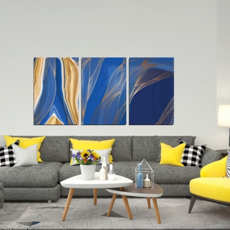 Quadro Decorativo Para Sala - 3 Telas - Abstrato Azul - 120x60cm